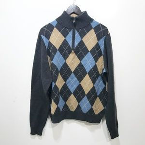 BROOKS BROTHERS M Sweater Lambswool Gray Argyle